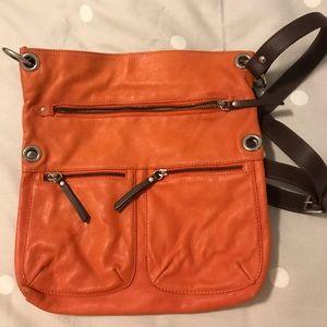 Orange leather crossbody bag
